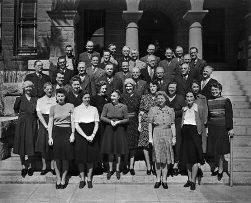 Orange County Assessor's Office employees on the steps of the Courthouse, Santa Ana, circa 1940 | by Orange County Archives