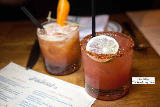 Watermelon Margarita (made with sake) and The Smoky Room
