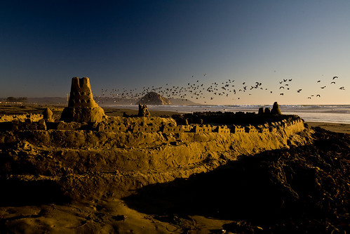 Sandcastle at Sunset on Morro Strand State Beach, Morro Bay, CA | by mikebaird