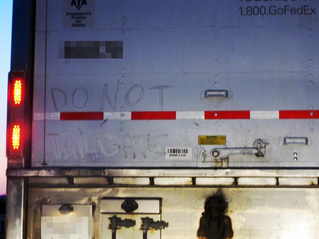 FedEx Truck, Do Not Tailgate, Outside Nashville, TN