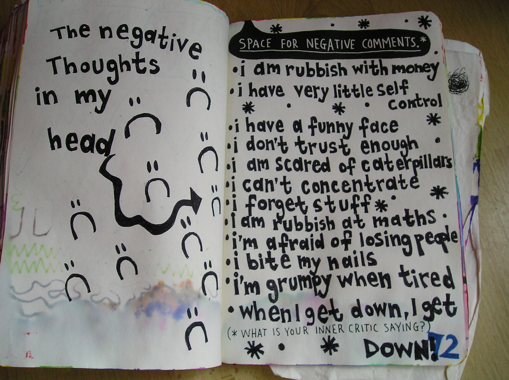 Wreck this journal day 60      Space for negative thoughts… | Flickr