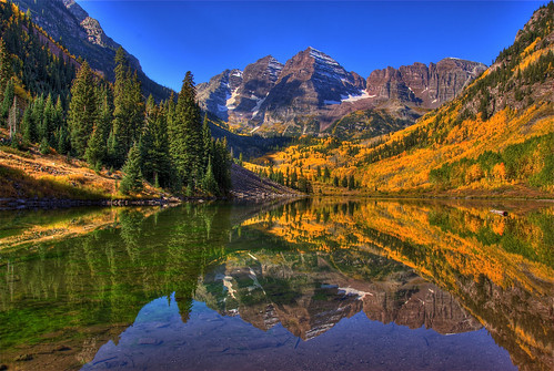 blue autumn trees sky lake snow mountains color reflection fall nature water landscape colorado colorful foliage explore aspen maroonbells specialtouch colorphotoaward ourplanet 200809 hdrspotting