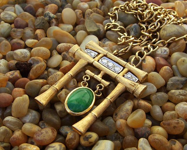 18K  Diamond Jade Tori Pendant w/ chain / 1