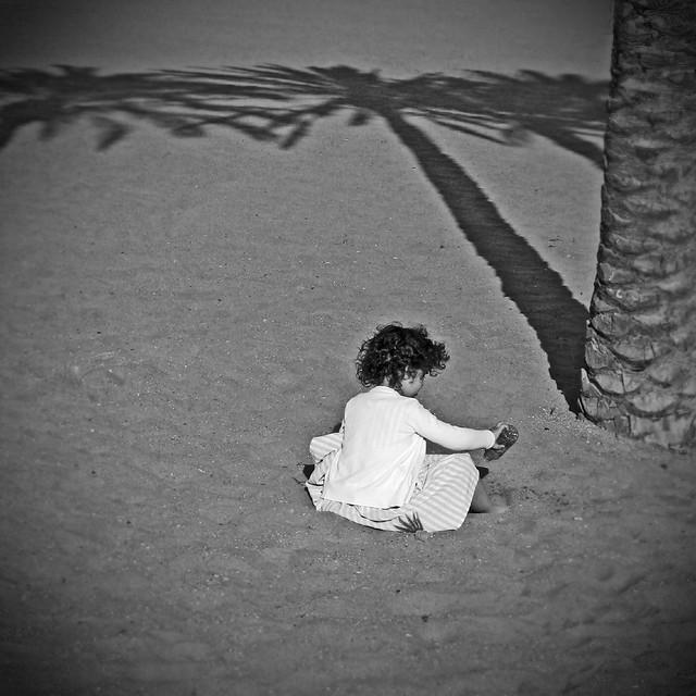 Under a palm tree.