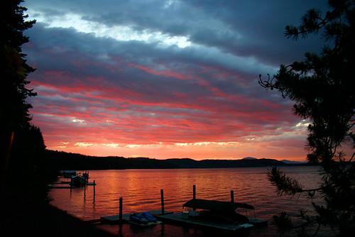 sunset geotagged lakecoeurdalene pfogold kiddislandbay geo:lat=47648333 geo:lon=116797371