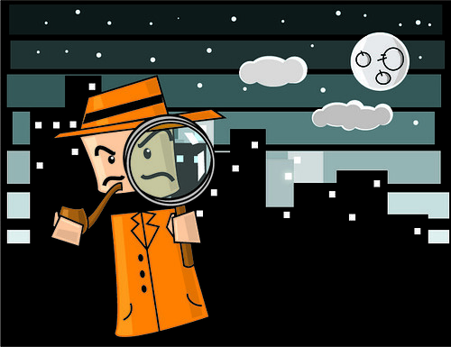 picture of a cartoon detective in an orange coat and hat with a pipe and magnifying glass.