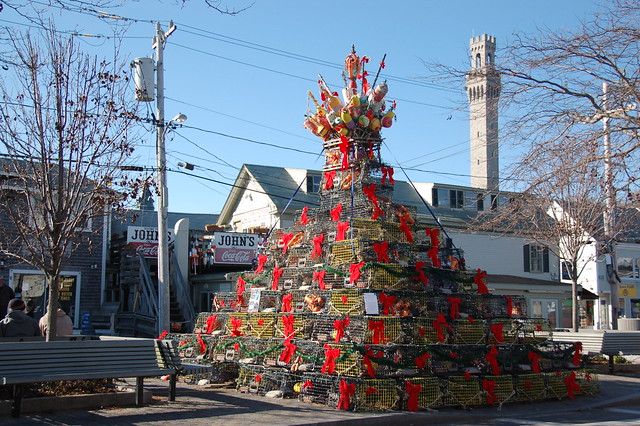 Provincetown: Maritime Christmas: A tree (with crown) made from lobster traps & wreaths