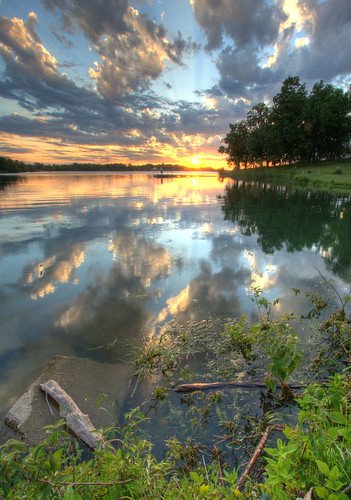 sunset lake nature landscape iowa hdr desmoines maffitlakepark