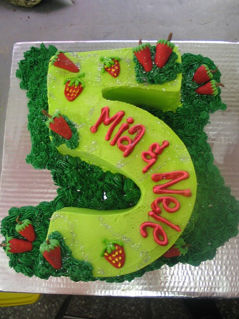 Number 5 Birthday Cake Lime Green With Strawberries