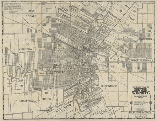 Chataway's Map of Greater Winnipeg Enlarged & Revised Edition (1917) | by Manitoba Historical Maps