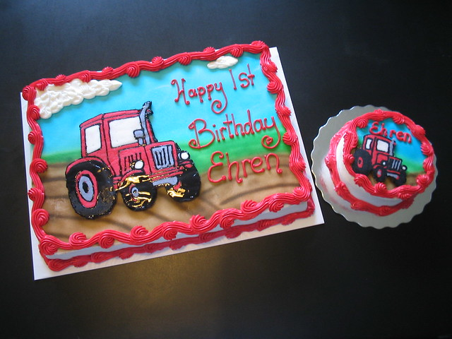 Tractor sheet cake with smash