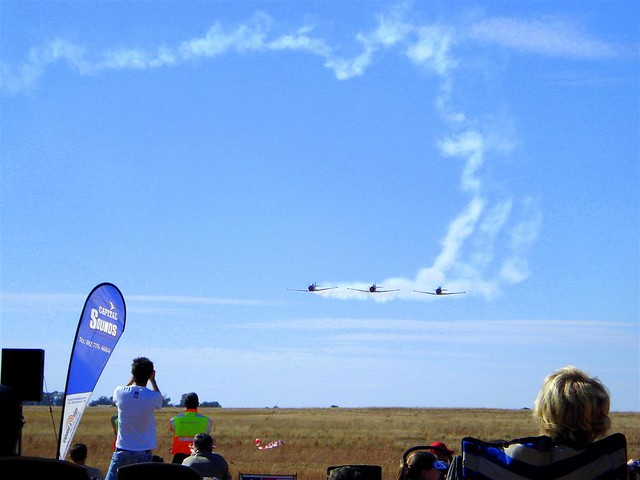 Three planes  in formation