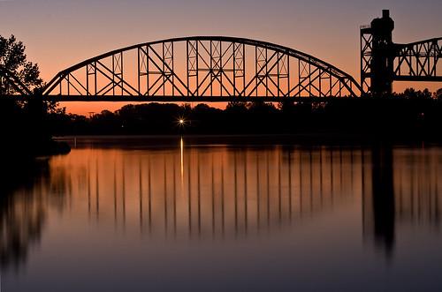bridge reflection rock sunrise dawn early october little sleepy platinum arkansasriver challengeyouwinner img6156 colorphotoaward aplusphoto rairload canoneos40d photofaceoffplatinum canon50mm118ii pfogold pfoplatinum absolutelystunningscapes