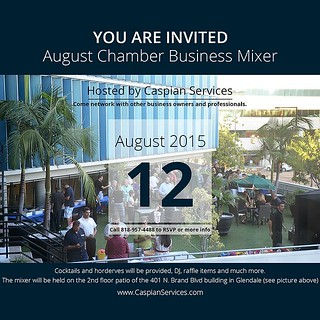 Come network with other business owners and professionals as we host the August CV Chamber Business Mixer.  Cocktails and horderves will be provided, DJ, game tables, raffle items and much more. Come have some fun after work and meet some new people while | by caspianservices