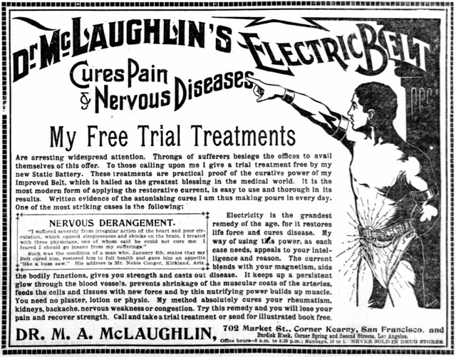 Dr. McLaughlin's Electric Belt Cures Pain & Nervous Diseases