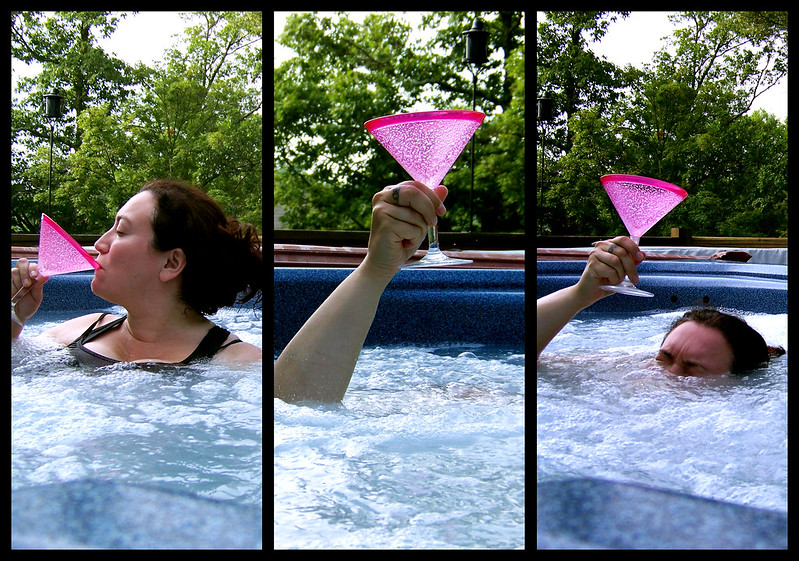 42/365: The Lady of the Hot Tub, her arm clad in the finest shimmering chlorine, held aloft Martini from the bosom of the water, signifying by divine providence that sobriety had left the building.