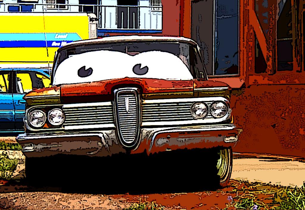 Rusted Edsel Along Route 66 in Seligman, Arizona (Cut Out Effect) by Scandblue