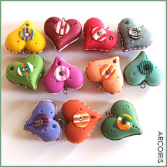 New polymer clay heart puffy beads | by Iris Mishly