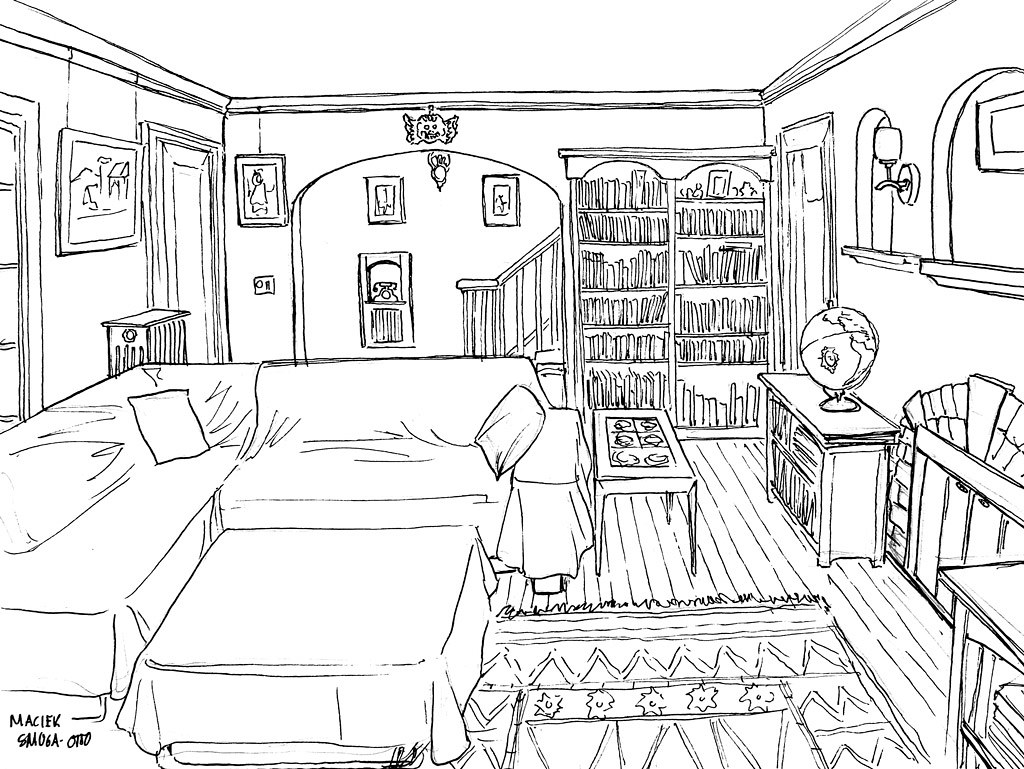 living room sketch, ink  The first assignment in Drawing fo  Flickr