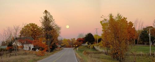 road autumn panorama moon ontario canada fall nature rural nikon october highway fallcolors fullmoon fallcolours althorpe lanarkcounty landscapesofvillagesandfields althorperoad