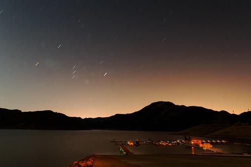 Lake Piru Star Trails with Sylmar Fire Glow