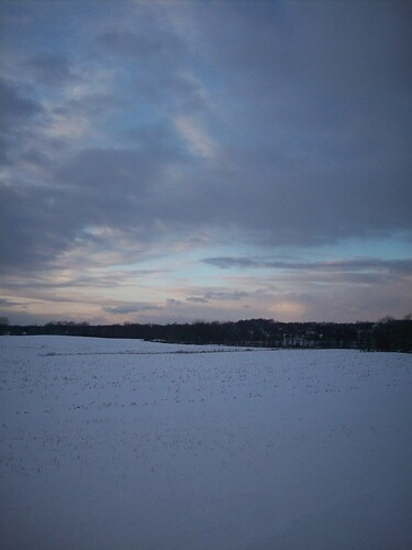 sunset snow field farm