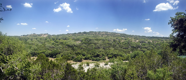 Panorama of Pedernales River Valley, West Cave Preserve, Travis Co, TX