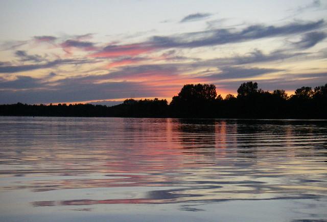 Dusk, on still water