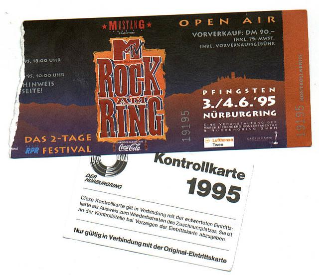 Rock Am Ring Karte.1995 06 03 Rock Am Ring Nürburgring Festival Ticket Un Flickr