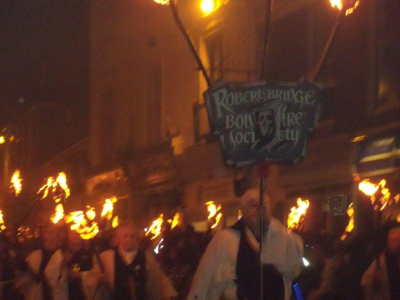 Robertsbridge marchers Battel Bonfire procession. Robertsbridge to Battle walk