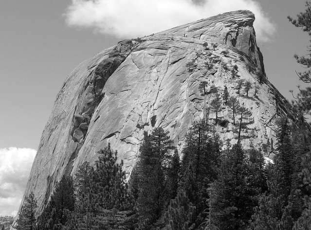 Last stretch of the trail to Half Dome - note some people in the top center using the cables