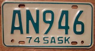 SASKATCHEWAN 1974 SNOWMOBILE plate