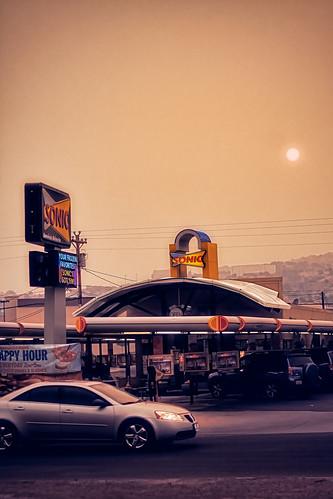 street sunset newmexico car haze smoke sonic 2011