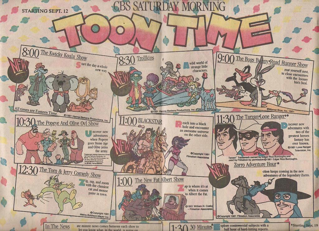 CBS Saturday morning cartoons ad, 1981 | The CBS 1981 Saturd