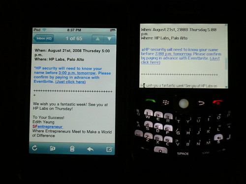 iPhone and Blackberry HTML email Comparison   by Dave Mathews