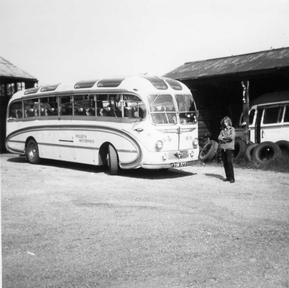 Portrait of the artist as a young bus spotter with Burlingham Seagull bodied AEC Reliance TOB377, June 1971 , Acton