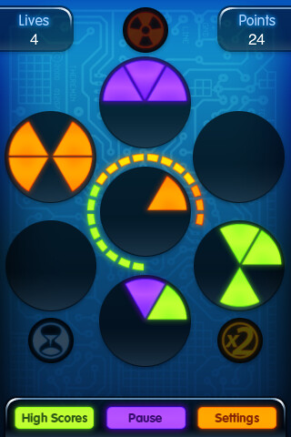 Frenzic for the iPhone, Game screen. | by artissoft