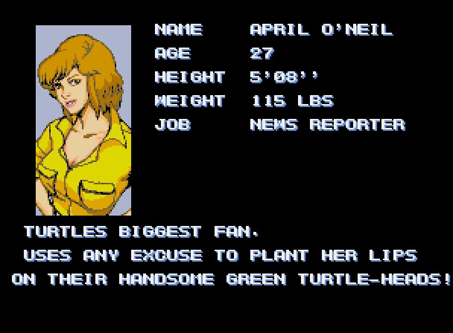 April O'Neil Profile: TMNT Arcade Game | April apparently ha… | Flickr