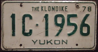 YUKON 1978 Commercial vehicle license plate THE KLONDIKE