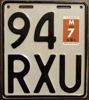 NEW ZEALAND 1992 Motorcycle plate WHITE base