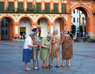 Old Women Gathering in Plaza Corredera, Cordoba | by mcohen.chromiste