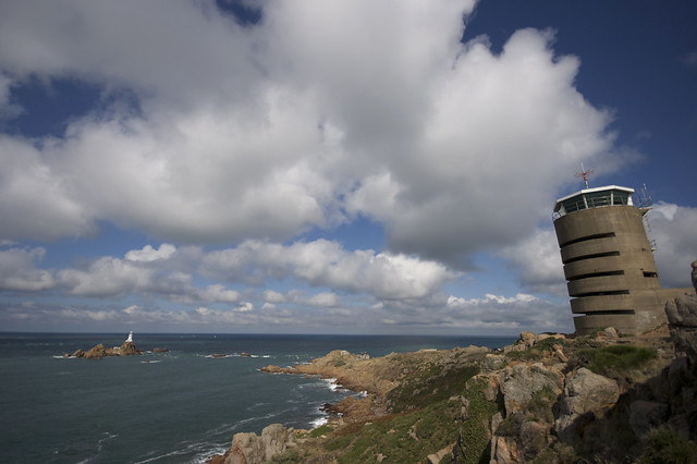 Cumulus observation tower over La Corbiere Lighthouse, Jersey