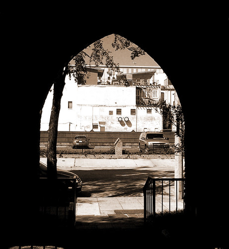 sepia photoshop manipulated louisiana arch batonrouge archway dx6490 stjamesepiscopalchurch 7013