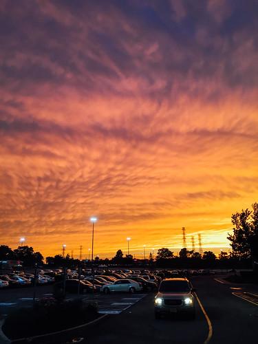 new sunset sky orange sunlight landscape fire evening newjersey shot parking nj jersey iphoto ios iphone ifttt