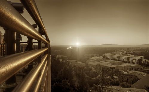 california sunset film monochrome sepia movie gold golden los raw angeles pipes universalcity hollywood railing universalstudios hdr moviestudio 3xp photomatix fav200 nex6 selp1650