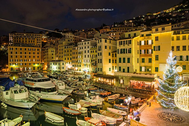 Camogli - Port and place during Christmas period (Genoa - Italy)