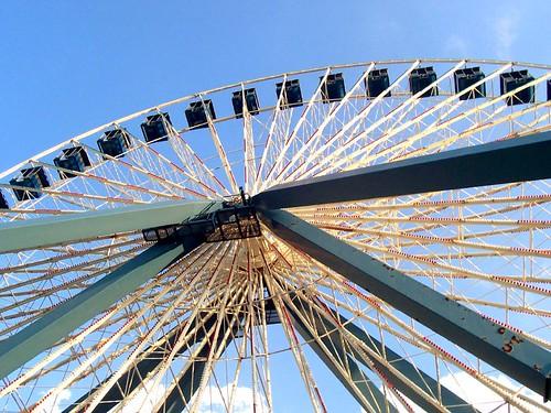park sky lake wheel clouds amusement ferris flags theme darien six