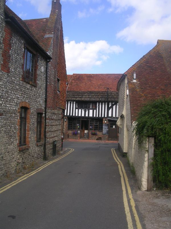 The George, Alfriston First view of the High Street. Lewes to Berwick via West Firle