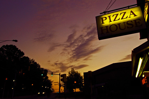 sunset house clouds trafficlight pizza iup