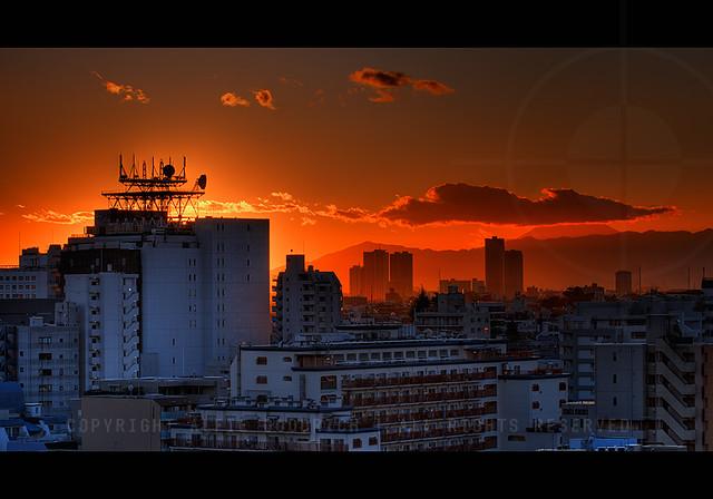 Sunset from our flat looking towards Mount Fuji; Omori, Tokyo, Japan